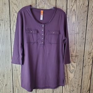 Lucy Purple Tunic Athleisure Blouse Large